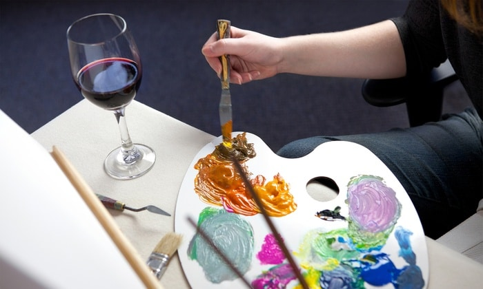 Red Wine Glass Paint Party